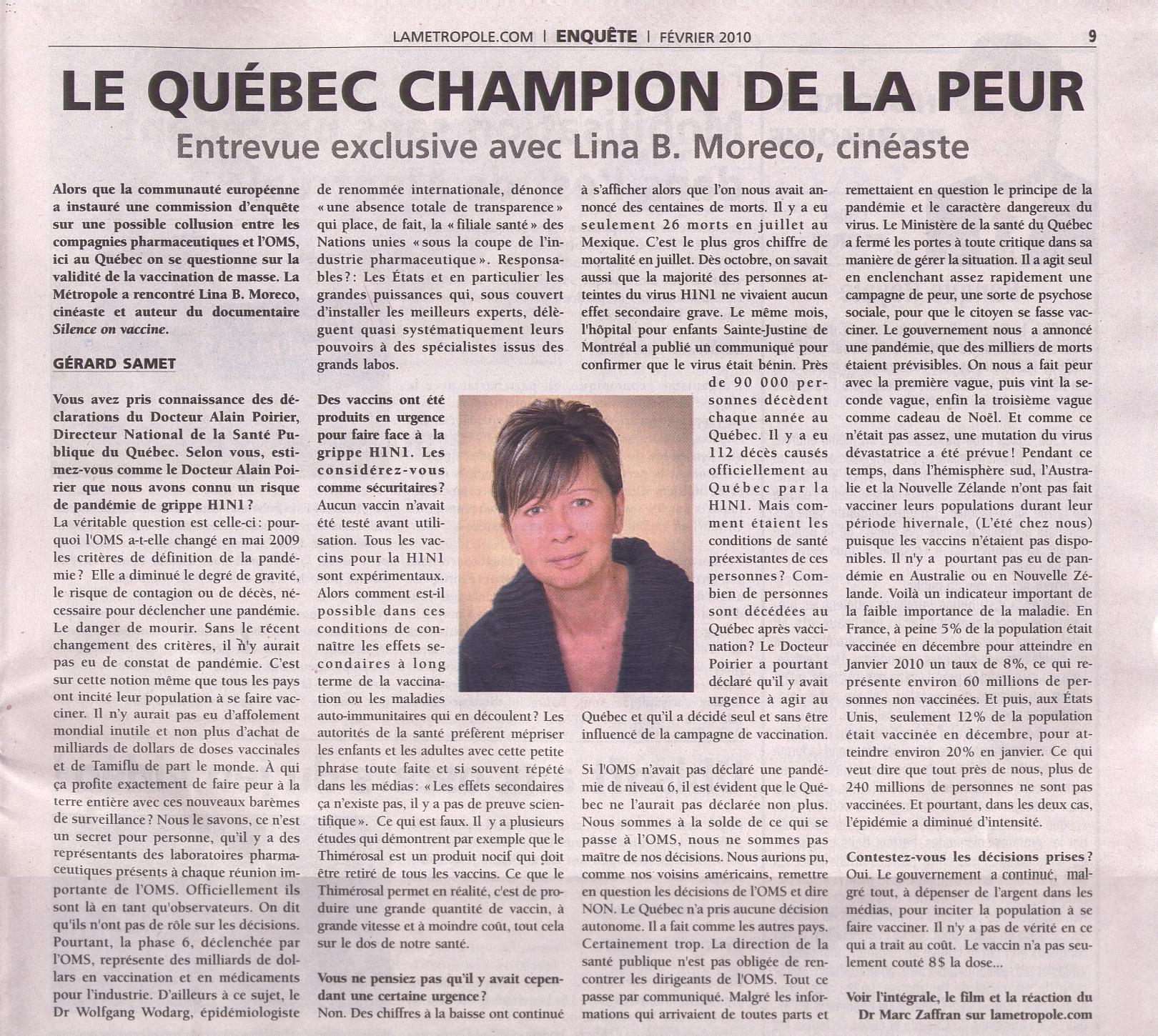 Le Québec champion de la peur avec Lina B. Moreco, cinéast