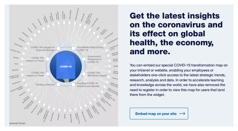 Get the WEF's Covid-19 widget for your web site - it's free