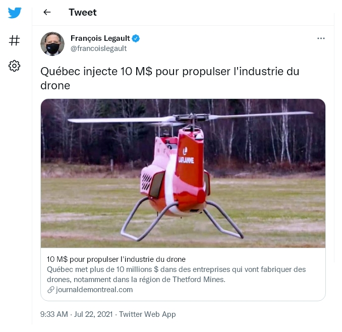 Quebec invests 10 million in private DRONE industry 11 July 2022