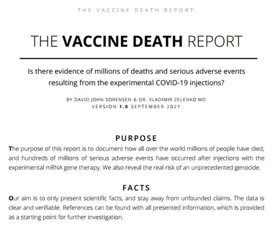 The Vaccine Death Report by David John Sorensen & Dr. Vladimir Zelenko, M.D. (Version 1.0 September 2021)
